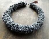 Winterwarmwoolnecklace made of ultra soft light grey merino wool