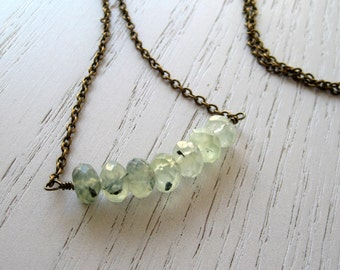 SALE - Prehnite Beaded Necklace with Antique Brass Chain