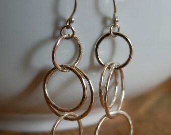 fine silver earrings. cascade.  linked rings. hammered bright silver. long earrings.  fine silver hoop earrings.