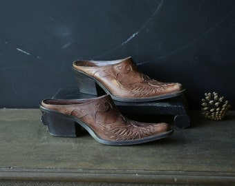BohemianTooled Leather Mules Western Style Mia Womens Shoes 90s US Size 7M Vintage From Nowvintage on Etsy