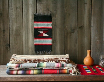 Small Vintage Abstract Tribal Weaving Bohemian Southwest Design Geometric Black Red White Vintage from Nowvintage on Etsy