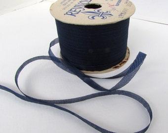 Vintage French Ribbon Navy Blue Reynolds France 1/4 inch rib0219 (2 yards)