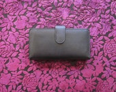 Black Leather Buxton snap checkbook wallet