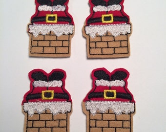Santa Claus In Chimney Christmas Embroidered Felt Applique