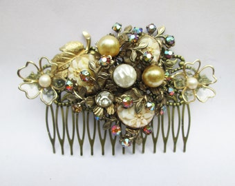 Baroque Gold Pearl Hair Comb,  Antique Vintage Brooch Hair Comb Collage Assemblage
