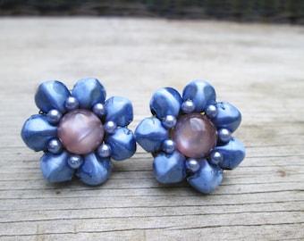 Periwinkle Blue Lavender Purple  Moonstone Vintage Button Earrings,  Re-purposed Converted