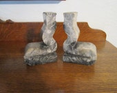 RETRO  Marble Bookends  - Abstract design - Grey/White - Great condition