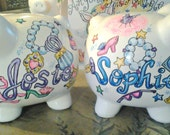 Piggy Bank for Kids Personalized Dress Up Design Hand Painted