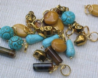 Tiny Dangles / Coin Purse Zipper Pulls Wholesale Lot Gold Sugar Skulls Fossil Carved Turquoise