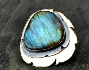 Labradorite ring, metalwork ring, oxidized sterling silver and brass, rustic, size 8.25 - For the Love of Dragons