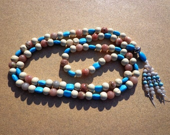 Mala Prayer Beads 108 Wood, Magnesite and Lepidolite Beads with Beaded Tassel