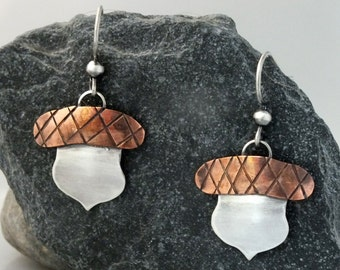 Sterling Silver and Copper or Brass Acorn Earrings, Dangle