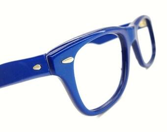 Vintage 80s Blue Horn Rim Wayfarer Eyeglasses Frame France