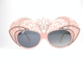 Vintage Wild Rhinestone Cat eye French Sunglasses or Eyeglasses Frame Excellent
