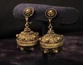 Vintage Chinese Export Gilt Cannetille Pomander Ball Earrings