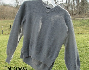 SALE - Supply - Felted Wool Sweater - Grey 2  - Recycled Fabric Material