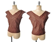 1950s blouse / brown blouse / 50s blouse .. small
