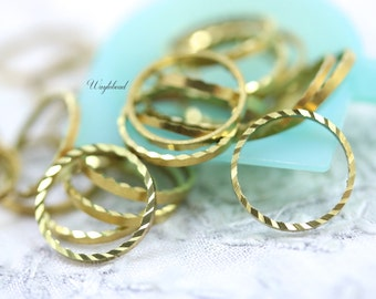 Ribbed Circle 12mm Brass Ring, Link or Connector - 100