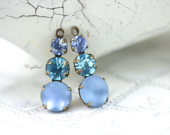 Vintage Glass Dangles Round 23mm Set Stones 1 Ring Earring Component Brass Prong Settings Light Sapphire Aqua Bohemica & Frosted Blue - 2