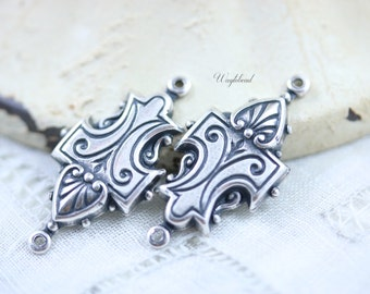 Art Deco Style Antiqued Silver Filled 2 Ring Connectors Links - 2