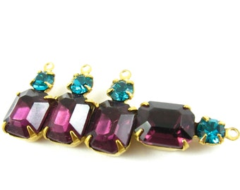 2 - Vintage Glass Octagon Stone and Swarovski Crystal in 1 Ring 2 Stones Brass Prong Settings - Amethyst & Blue Zircon - 18x8mm