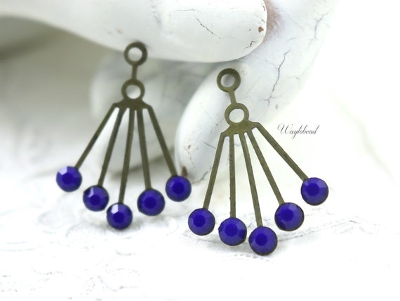 RARE Navy Blue 30x21mm Vintage Art Deco Style Brass Dangle Finding Swarovski Crystals Ear Jacket - 2