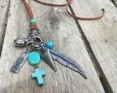 Leather Bohemian Boho Feather Charm Necklace - Feather, Arrowhead, Cross and Faith Charms