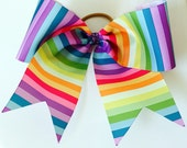 Big 3 inch Striped Rainbow Cheer or Softball Ponytail Holder