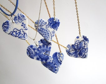 Porcelain heart pendant necklace - Hand made and hand painted Dutch Blue Delftware necklace