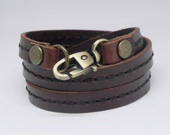 Leather Bracelet Wrap Leather Bracelet with Metal Alloy Clasp Hand Stitched  in Brown color