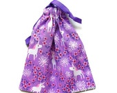 Small Unicorn Bag Drawstring Pouch Purple Pink Flowers Gift Bags Small Tote Bag Kawaii Jewelry Pouch Little Purse Small Gift Bag