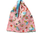 Alice in Wonderland Bag Drawstring Pouch Pastel Pink Small Tote Bag Kawaii Pouch