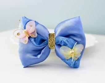 Cinderella Hair Bow; Cinderella Hair Clip; Disney Princess Hair Bow; Handmade Inspired Bow; Butterflies Bow; Cinderella Hair Bow; Disney Bow