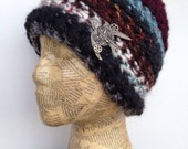 Crocheted Beanie Hat in Black, Grey, Blue, Burgundy, Cream, Turquoise, Brown with Removable Anyique Brass Steampunk Bird Pin