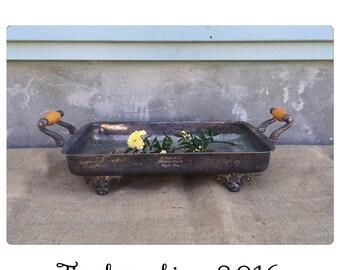 Silver Tray - Serving Tray - Handled Tray- Succulent Planter - Equestrian Decor - Table Centerpiece - Farmhouse Decor - Chic