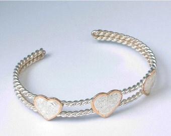 CIJ Sale Southwestern Style Heart Cuff Bracelet Silver Tone Metal