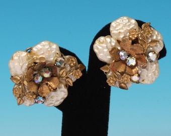 Faux Pearls AB Rhinestones Earrings Floral Accents Vintage Earrings