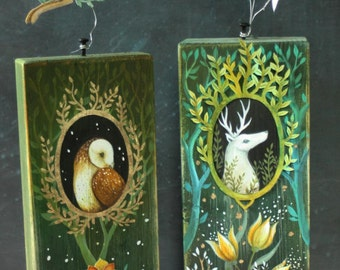 An original art piece.  Hand painted in acrylic with paper cut decoration on wood.  'Sage ' by Amanda Clark.