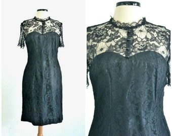 50s Black Lace Cocktail Dress 60s Party Dress