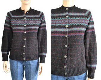 70s Vintage Fair Isle Cardigan Sweater Wool Flecked Tweed Silver Crest Buttons  small to medium