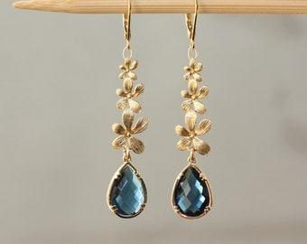 Blue Montana, Orchid Cascade Earrings, Bridal Shop, Birthday Gift for Wife, Weddings, Bridal Shower, for Sister, for Mom, Long Gold Earrings