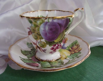 Vintage Royal Standard cup and saucer with berries & fruit, England