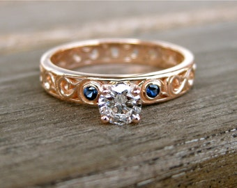 Diamond Engagement Ring with Blue Sapphire in 14K Rose Gold with Vintage Style Scrolls Size 9
