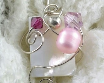 Embellished Sterling Silver, Wire Wrapped, Mother of Pearl, Pendant, Wire Jewelry, Handmade Pendant, White, Pink, Freeform, Wrap P2101