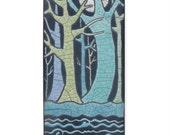 Trees,forest, a 3 x 6 inch raku fired art tile for your wall,aqua,blues,handmade ceramic tile, home decor, wall art