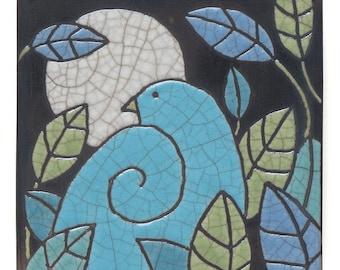Bird Ceramic tile, Bird Leaves & Moon, handmade 4x4 inch raku fired art tile, wall art