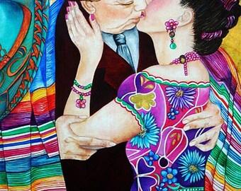 Mexican Art Frida Kahlo, Frida Kahlo Print, Folk Art Mexican, Frida Kahlo, Diego Rivera, Their Kiss, from original painting