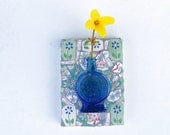 Mosaic Bottle Wall Vase Blue Glass Mosaic Hanging Wall Decor Flower Holder