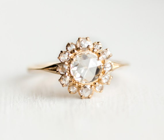 Petticoat Ring // Rose Cut Diamond Halo Ring in 14k Yellow Gold / Diamond Halo Engagement Ring / Antique Inspired Design by Melanie Casey