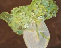 "Original painting, 11x14, ""Summers End Bouquet"", Floral, folk art, minimalist, scandinavian, primitive"